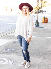 Cool Weather Crush Sweater- Ivory