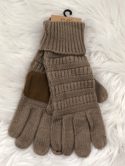 CC Beanie Cable Knit Gloves- Taupe