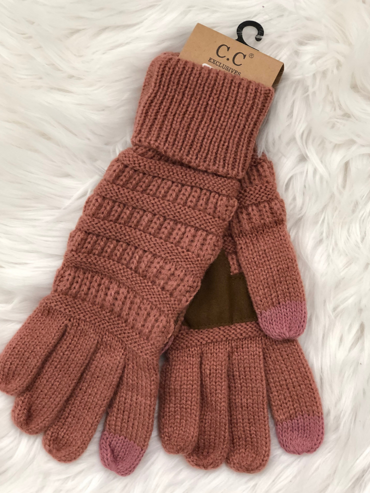 CC Beanie Cable Knit Gloves- Mauve