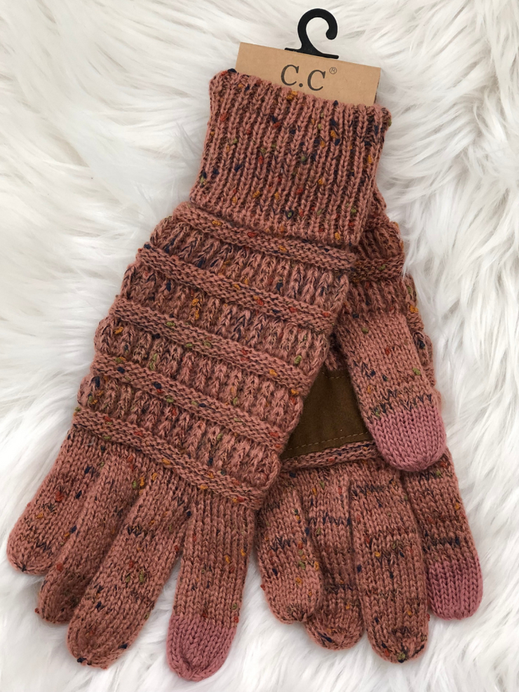 CC Beanie Speckled Cable Knit Gloves- Mauve