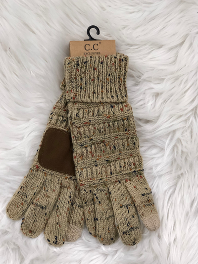 CC Beanie Speckled Cable Knit Gloves- Taupe