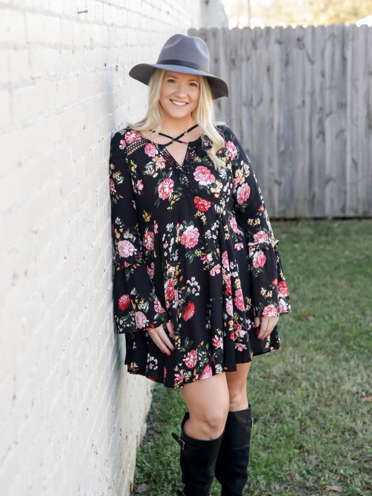 The Agnes Floral Dress In Black