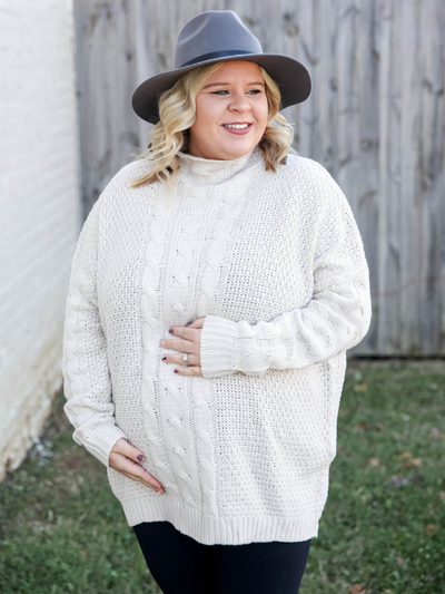 The Brittney Cable Knit Sweater- Cream