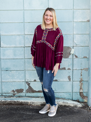 The Kathy Top- Burgundy