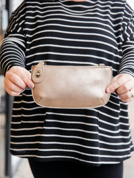 Lux Crossbody & Wristlet- Rose Gold Lustre