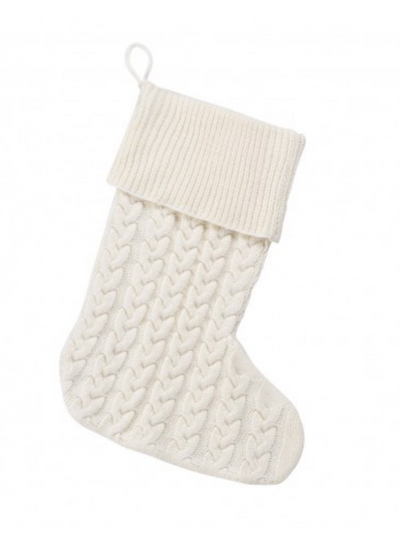 Cable Knit Christmas Stocking- Crème