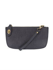 Joy Susan: Faux Linen Crossbody Wristlet Clutch-Navy