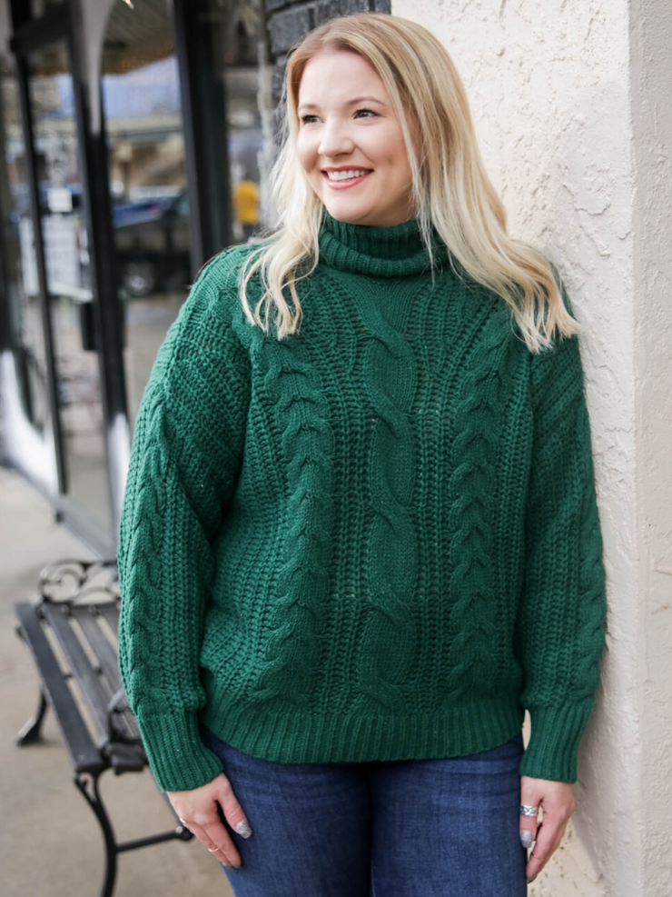 The Winter Village Sweater- Hunter Green