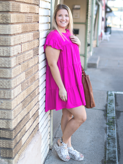 The Madalynn Dress - Fuchsia