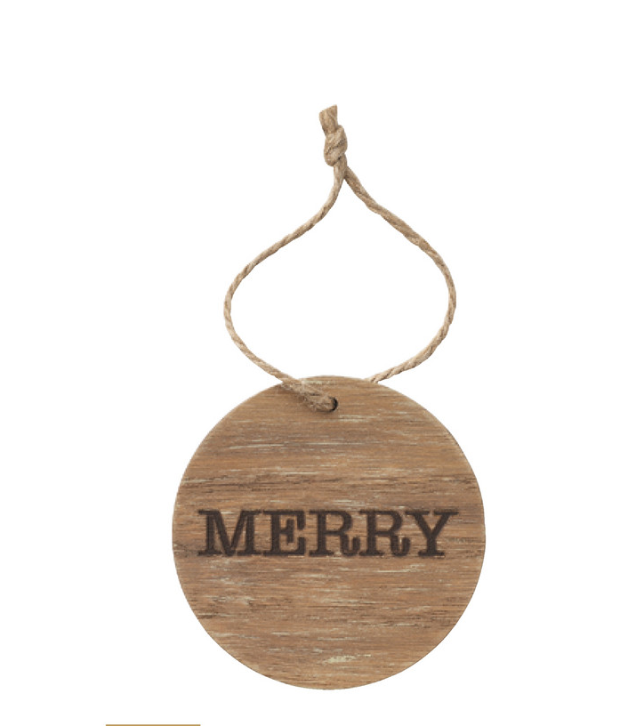 Ornament- Merry Wooden