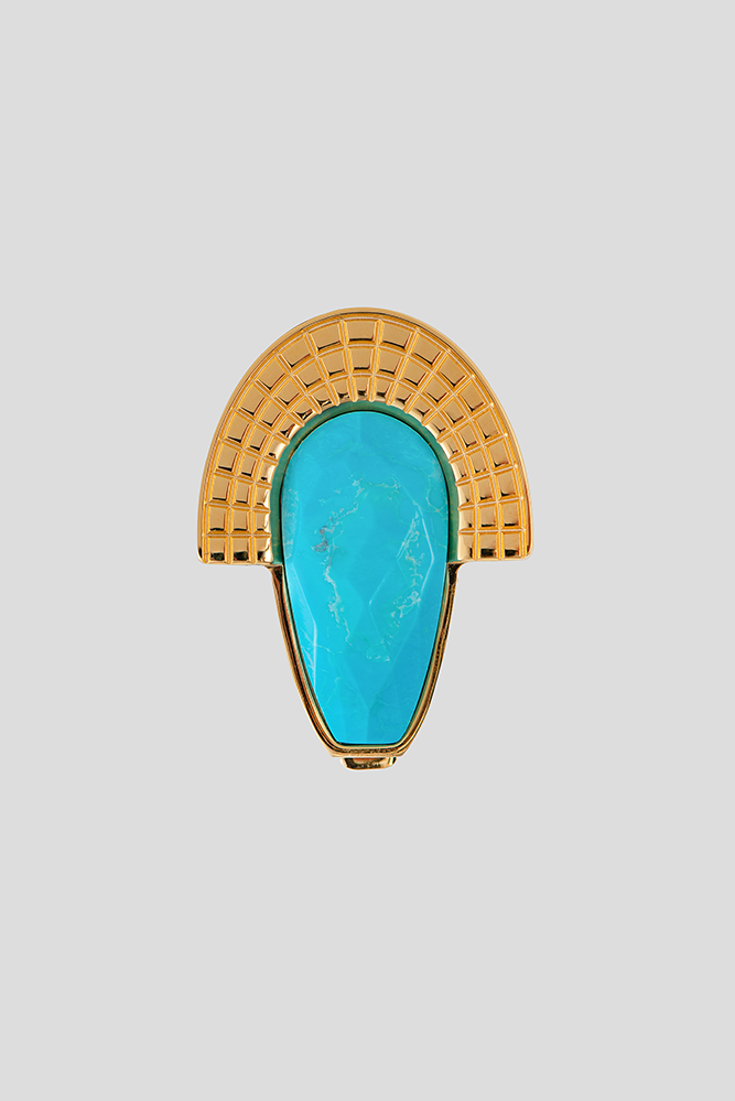 Aztec style teardrop closure with faceted magnesite | ABAS FASHION ACCESSORIES