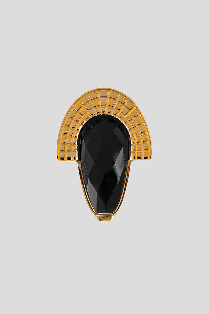 Aztec style teardrop closure with faceted onyx | ABAS FASHION ACCESSORIES