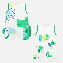 Green and Blue Sleeveless Romper - 2 Styles
