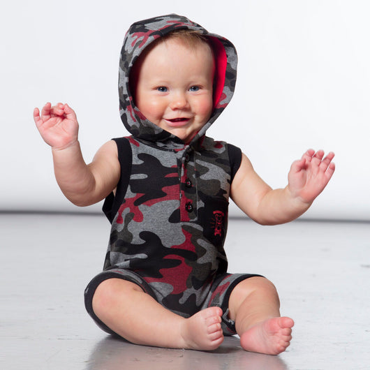 Printed French Terry Black & Red Camo Romper