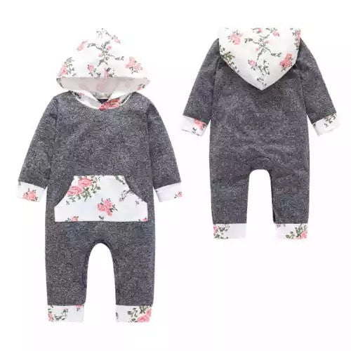 Floral Patch Work Hooded Romper
