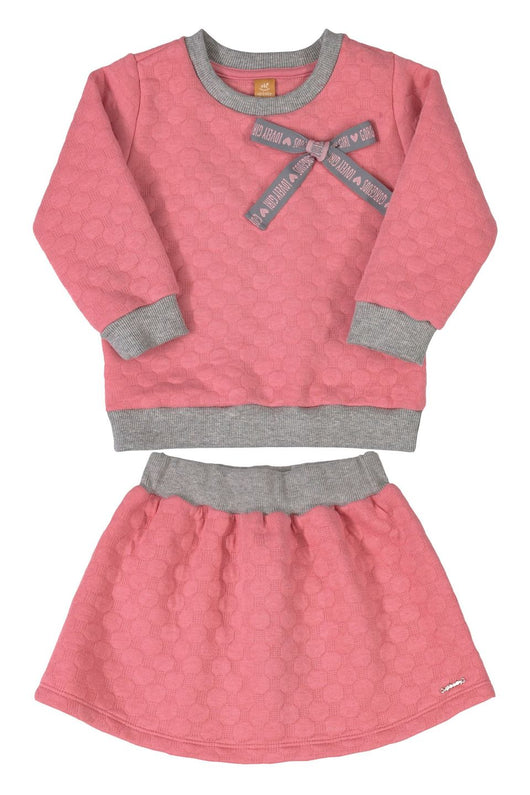 Pink & Gray Sweatshirt & Skirt Set
