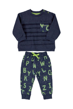 Blue Letters Sweatshirt & Sweatpants Set