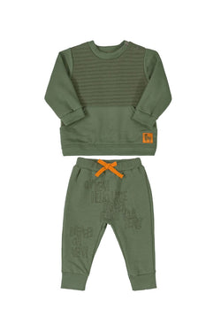 Olive Green Sweatshirt & Sweat pant Set