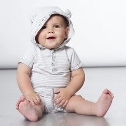 Grey Striped Organic Cotton Hooded Romper, Baby Unisex