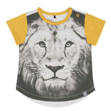 Organic Cotton Printed Lion T-Shirt & Striped Jogging With Side Bands Set