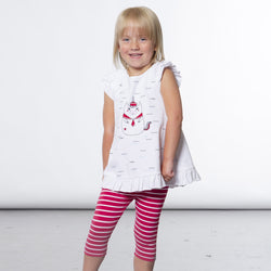 White Jersey Tunic Unicorn Of The Sea Print & Striped Capri Legging Set with Frill