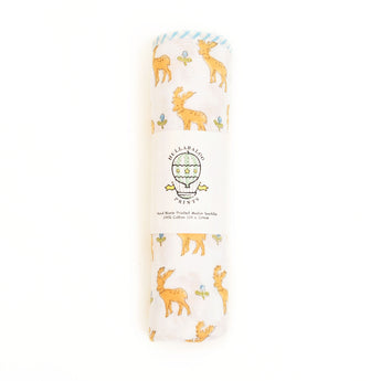 Large Swaddle - Stags & Acorns - Apricot