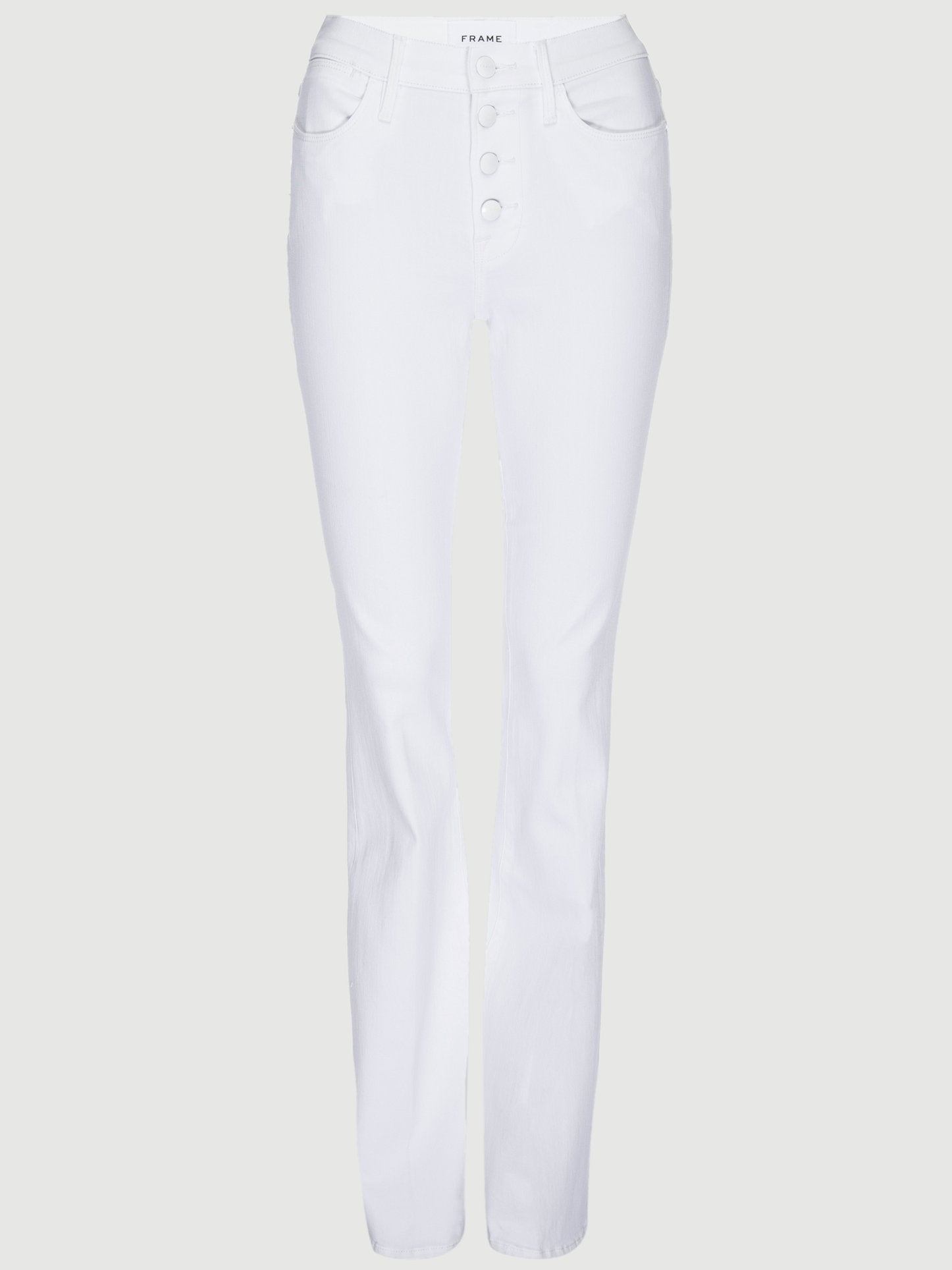 "WHITE ""LE HIGH SKINNY"" EXPOSED BUTTONS JEANS"