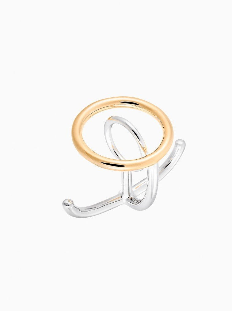 GOLD & SILVER BAGUE SATURN RING