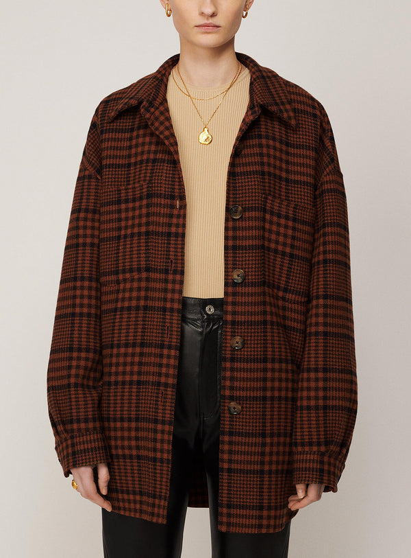 BROWN-NAVY CHECK MARTIN JACKET