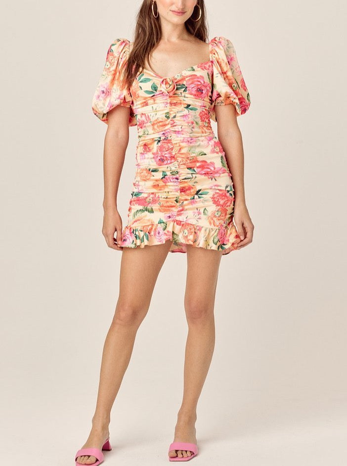 PEACH VERSILLA MINI DRESS