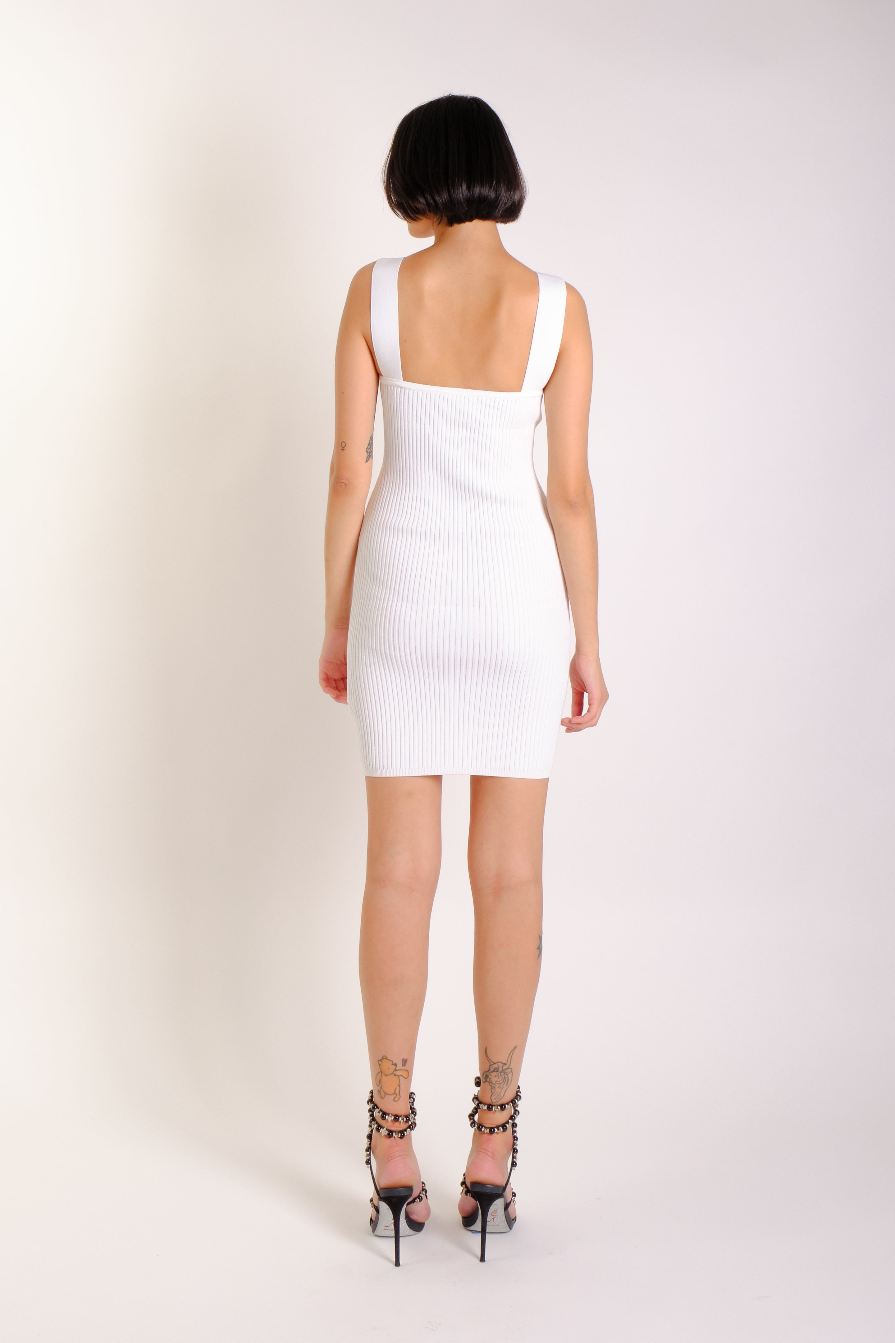 WHITE RIBBED LOGO DRESS