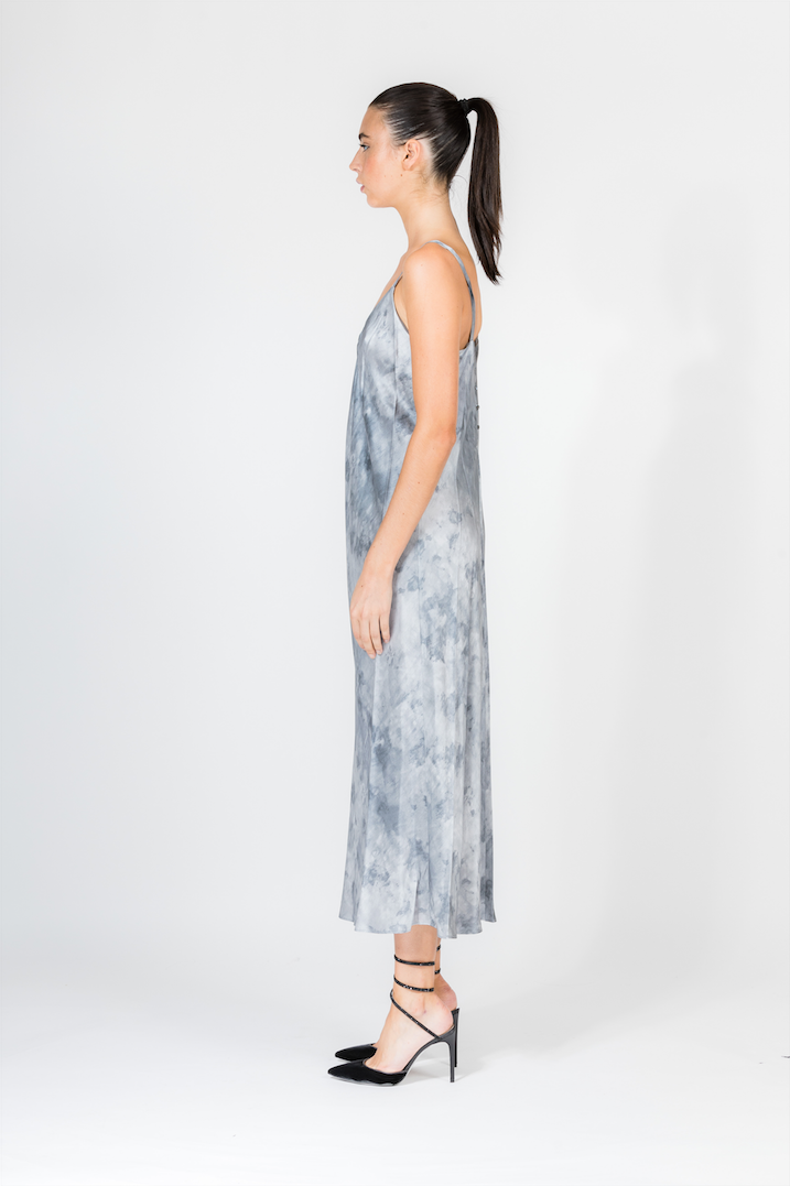 WATERCOLOUR MARBLE SHIRRED CAMI DRESS