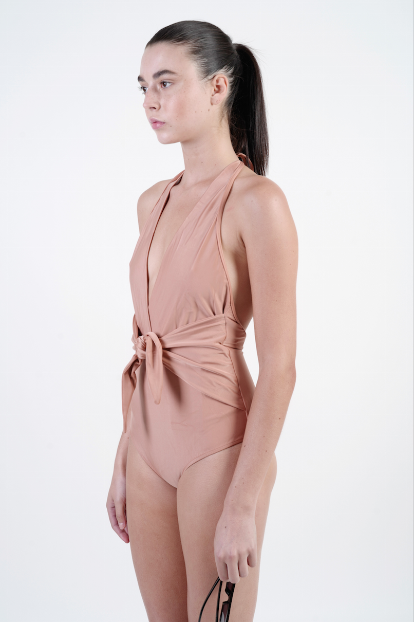 ROSE HALTERNECK SWIMSUIT WITH KNOT DETAIL