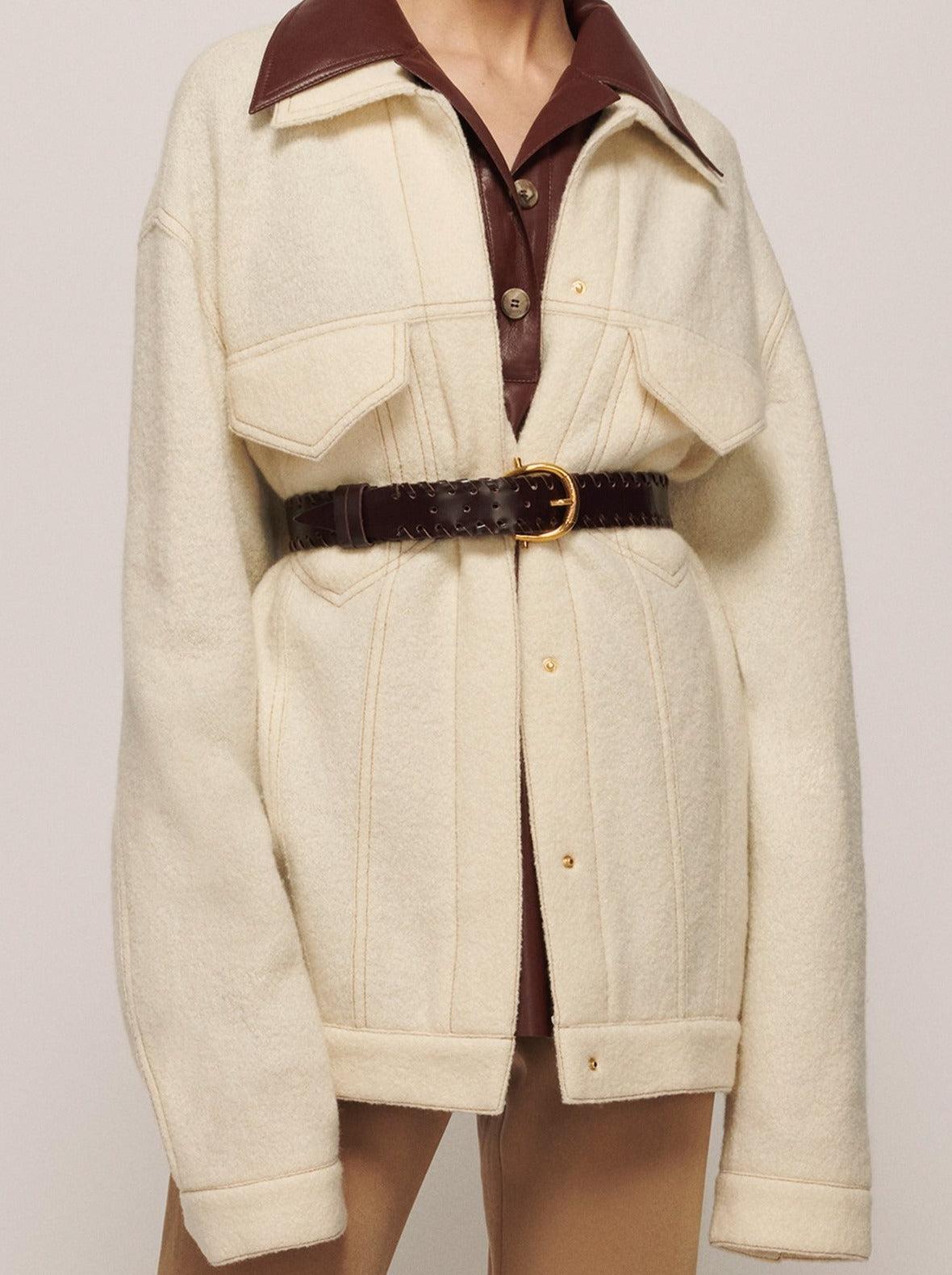 CREAM AMADOR OVERSIZED JACKET