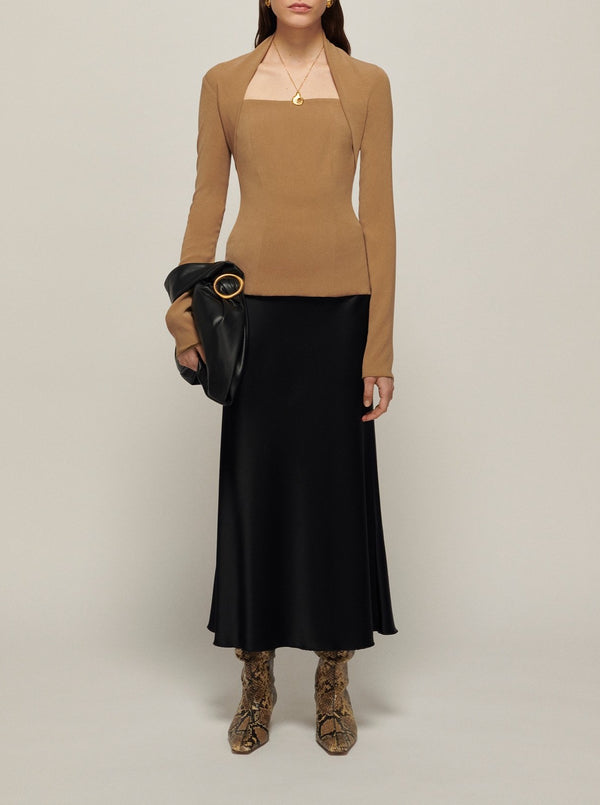 KHAKI ISLA FITTED LONG SLEEVE TOP