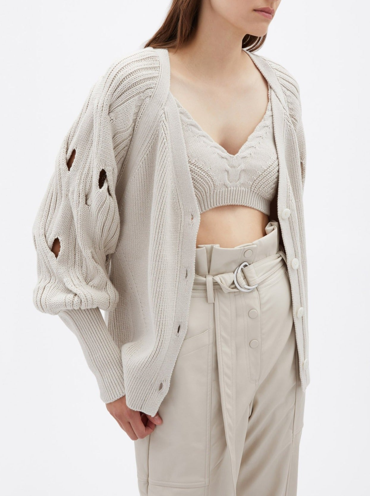 STONE KINLEY OPEN CABLE PUFF SLEEVE CARDIGAN