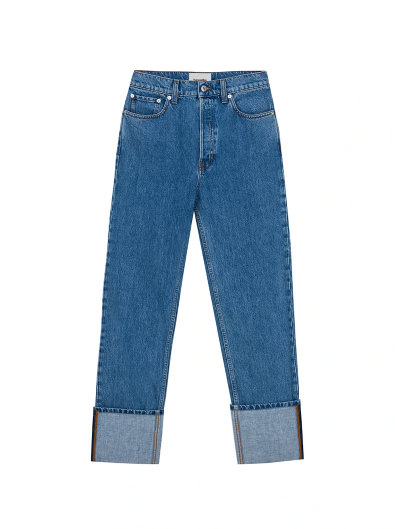 BLUE TURN UP STRAIGHT LEG JEANS