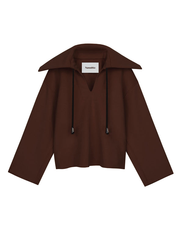 CINNAMON BROWN ELI COLLAR JACKET