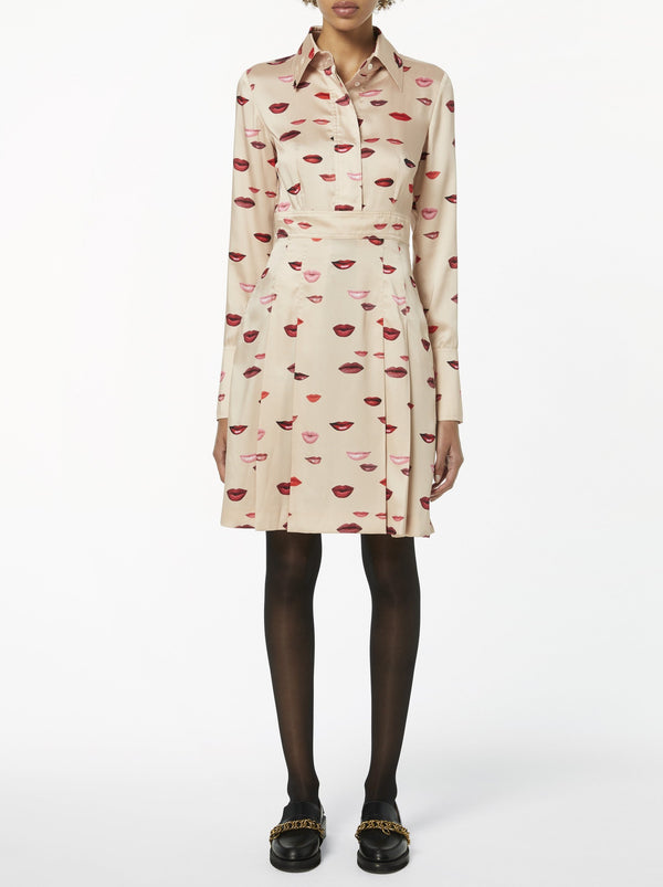 BEIGE PHOTO LIPS PRINT SHIRT DRESS