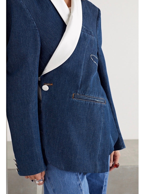 BLUE DENIM SUIT JACKET
