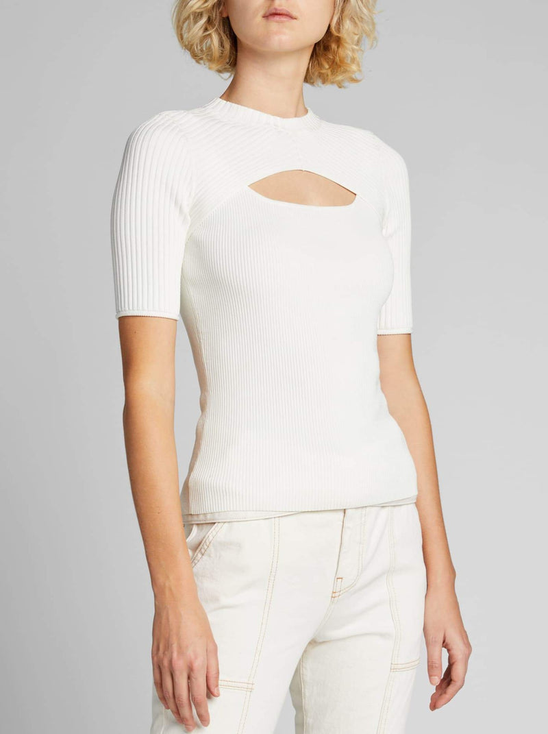 WHITE KEIRA COMPACT CUT OUT TOP