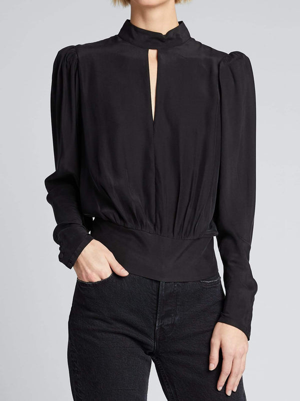BLACK SATIN KEYHOLE TOP