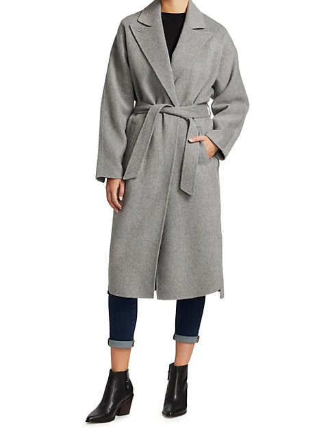 GREY DOUBLE FACE WRAP COAT