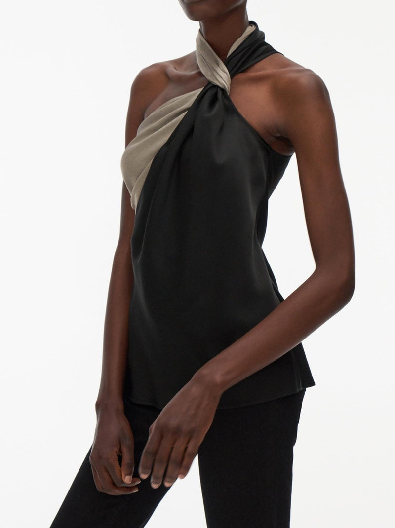 BASALT SCARF TIE DRAPPED TOP