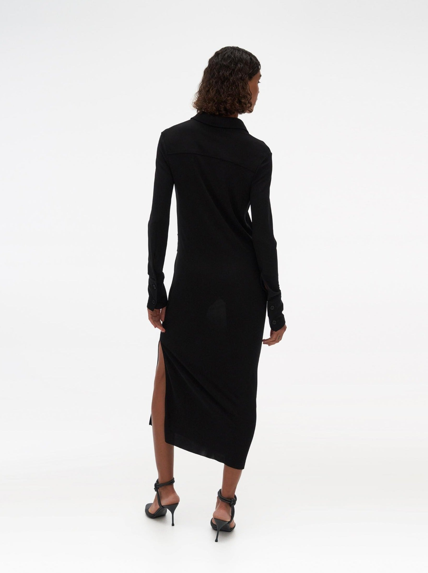 BLACK VSCS SHIRT DRESS