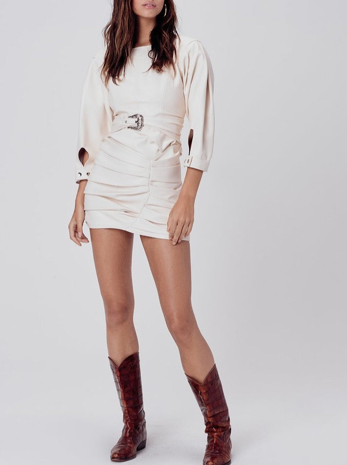 CREME AFTON PLEATHER WESTERN DRESS