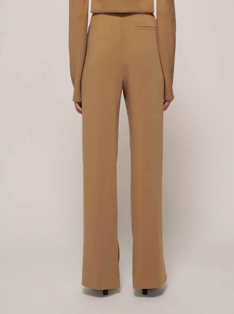 KHAKI ARUN STRAIGHT SLIT PANTS
