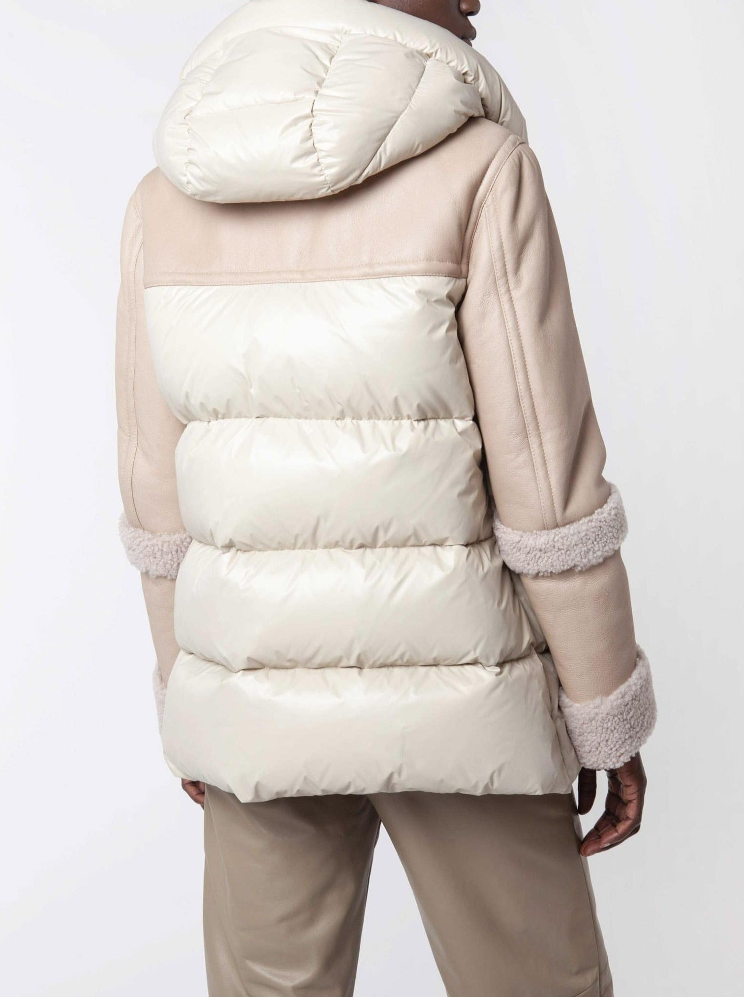 BEIGE/PINK SHEARLING AND NYLON PADDED JACKET