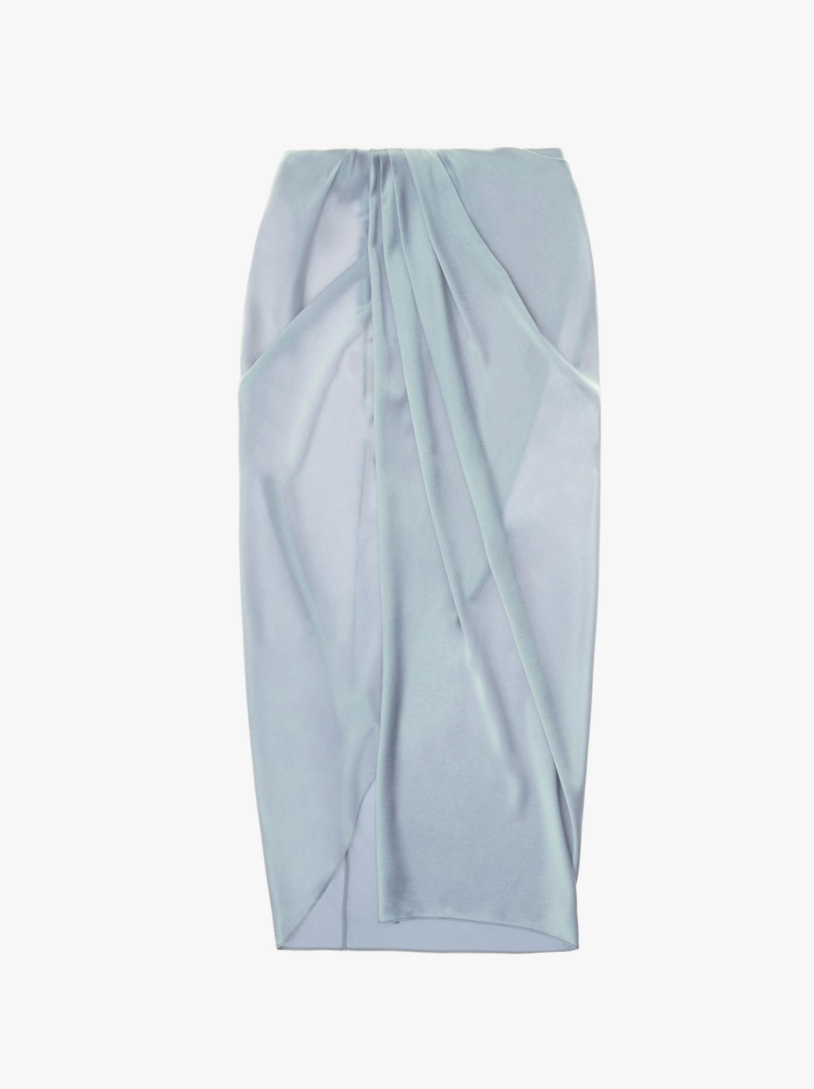 ASH BLUE RUCHED SILK SKIRT
