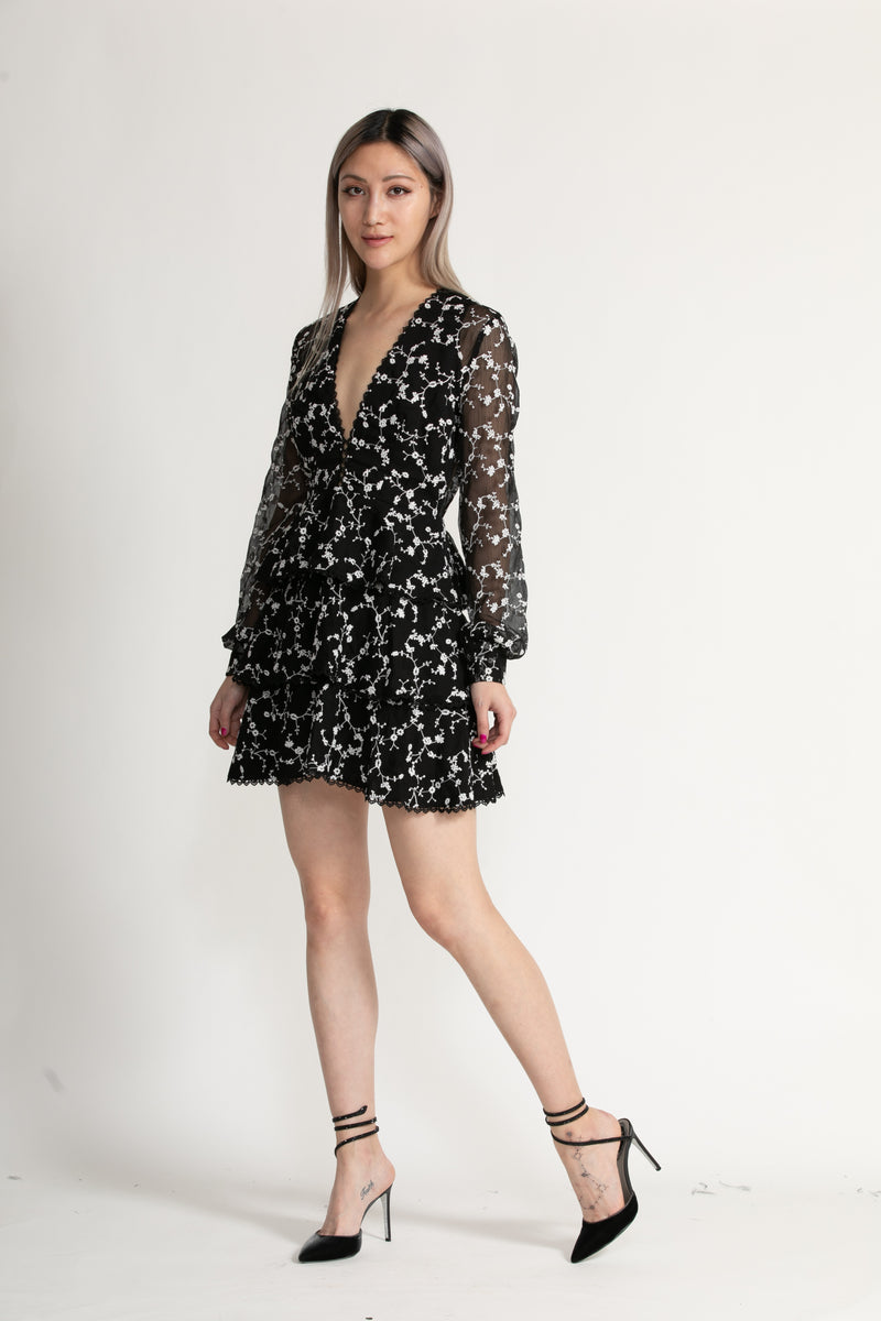 ISABEL TIERED EMBROIDERED MINI DRESS